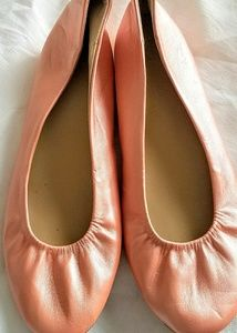 NY&C PEACH LEATHER BALLET FLATS,   9